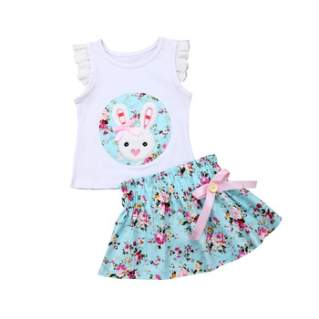 Summer Easter Toddler Kids Infant Baby Girl Floral Ruffle Bunny Tops+Tutu Flower Skirt Outfit Clothes Set