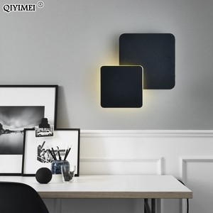 Image 4 - כיכר LED מנורת קיר לחדר שינה סלון לבן שחור פמוט קיר אורות 360 מעלות Rotatable מתכת 5W/16W גופי