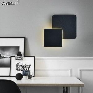 Image 4 - مربع وحدة إضاءة LED جداريّة مصباح لغرفة النوم غرفة المعيشة أبيض أسود الشمعدان أضواء الجدار 360 درجة تدوير المعادن 5 واط/16 واط تركيبات