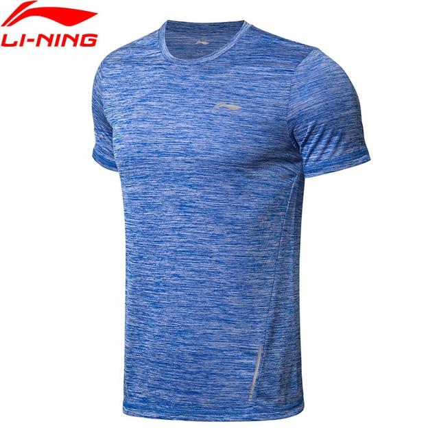 Li-Ning Мужская футболка для бега, дышащая быстросохнущая Светоотражающая подкладка, полиэстер, тонкая посадка, Спортивная футболка, топы ATSN211 MTS2842