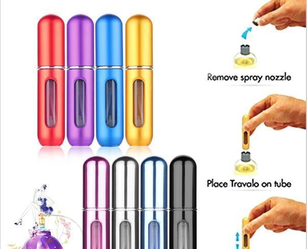 5ml Portable Mini Aluminum Refillable Perfume Bottle With Spray Cosmetic Containers With Atomizer For Traveler