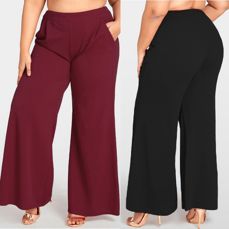 Plus Size Womens   Pants   Office Loose Stretch   Wide     Leg     Pants   Zipper Females Solid Long   Pants   Palazzo Trousers XL-4XL