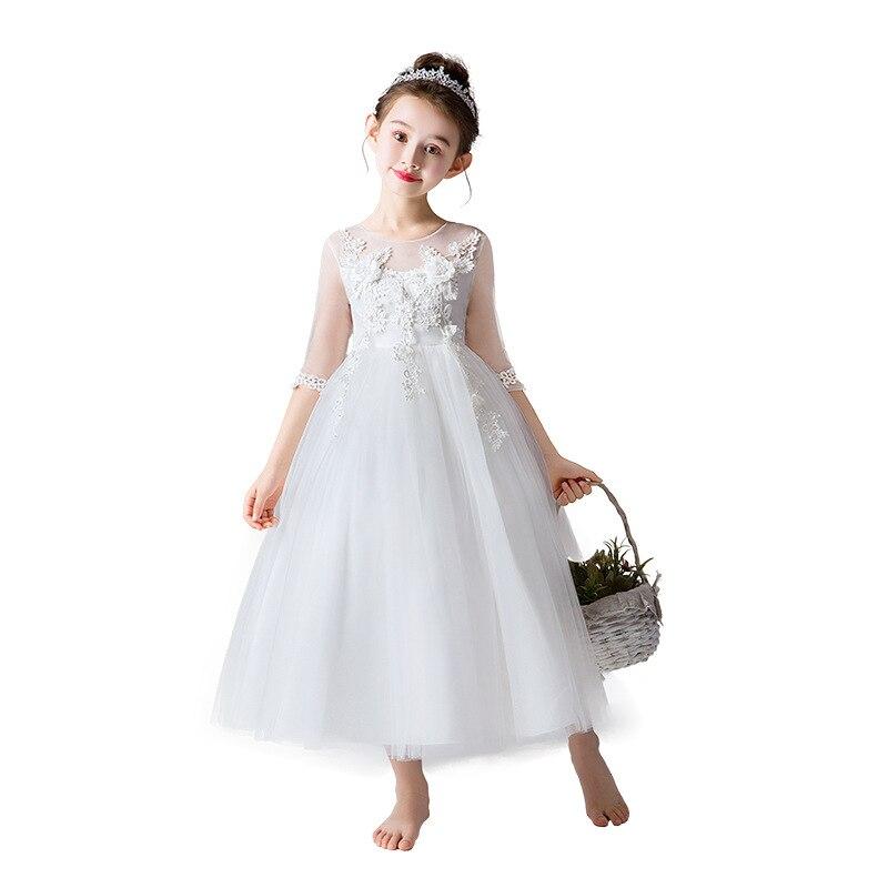 Elegant Kid/'s Lace Vintage Princess Graduation Communion Party Flower Girl Dress