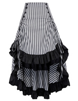Vintage Womens Gothic Asymmetrical Laced Steampunk Ruffle High Low Folded Skirt