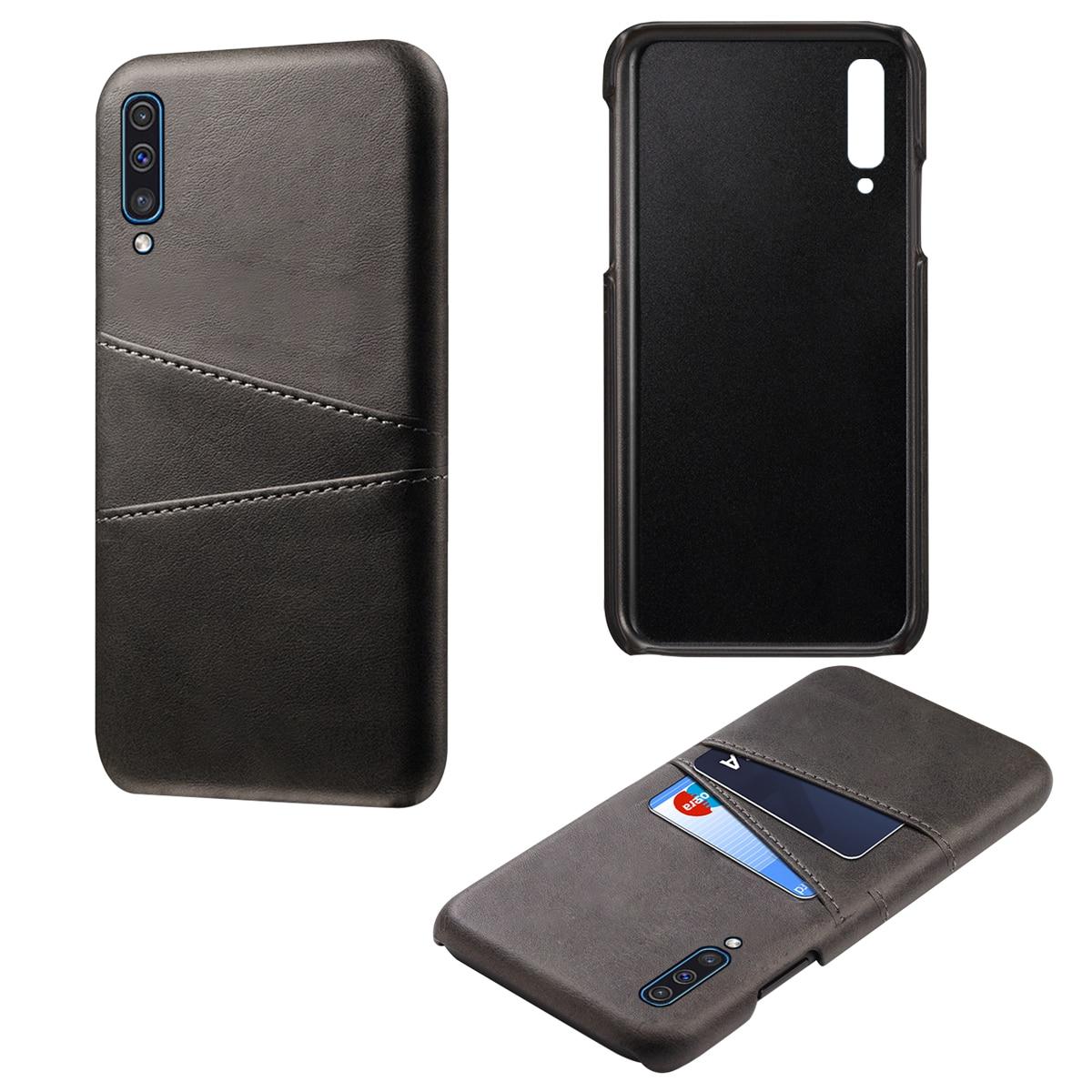For Samsung Galaxy A50 A40 A30 A20 A10 Case Retro Calf Grain PU Leather 2 Card Slots Hard PC Back Cover 2019