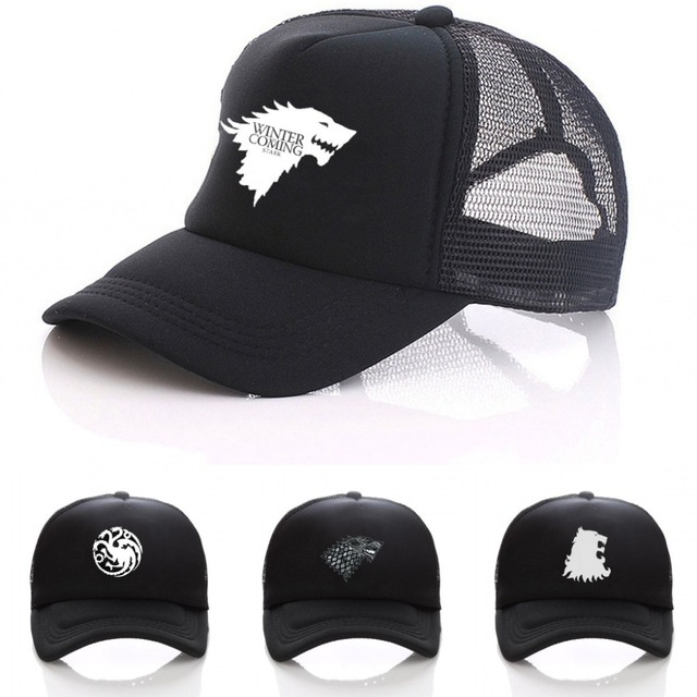 Game of thrones Snapback adjusted men women hat Summer Mesh Sun Full Black Baseball  Caps 435d8f75dc0e