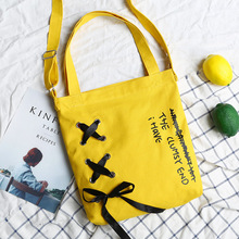 Korean version of the canvas bag female shoulder diagonal does not include silk ribbon bow green shopping