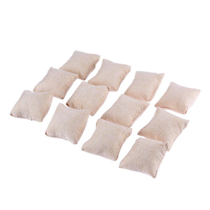 12 шт., маленькие льняные браслеты, подушка для часов, ювелирные изделия, лаконичные дисплеи 8 см х 8 см, новое поступление