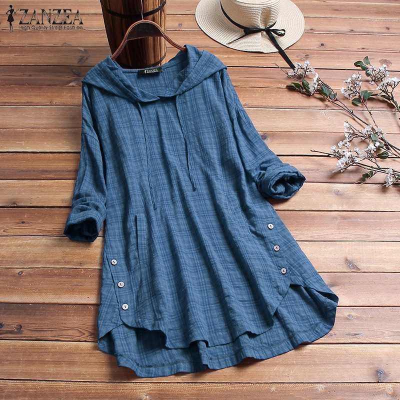 2019 Autumn Women Hoodies Plaid Checked Blouse ZANZEA Vintage Shirt Casual Buttons Tunic Tops Hooded Long Sleeve Blusas Female