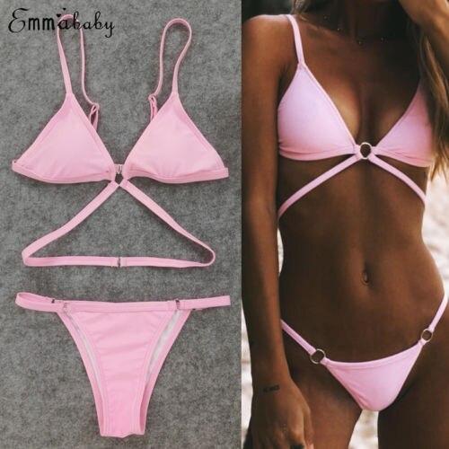 2019 Sexy Pink Cross Bandage Bikini Set Women Padded Splicing Triangle Swimsuit Traingle Swimwear Bikini Thong Beachwear