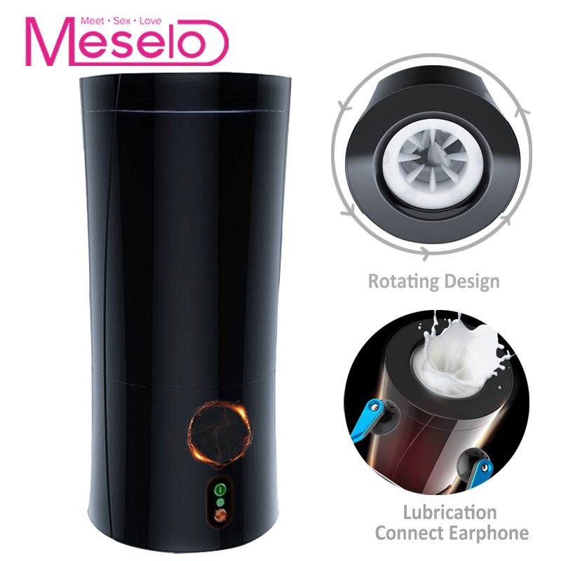 Meselo Moaning Interaction Male Masturbator For Man Connect Earphone Rotating Penis Trainer Gay Sex Toys For Men Masturbatings