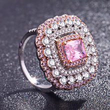 Womens Ruby Diamond Ring Temperament Elegant Pink Anillos De Finger Bague Etoile Jewelry Bizuteria for Women Rings