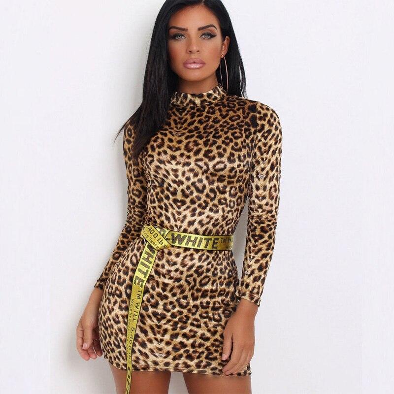 BeautyStay 2018 Women Sexy Leopard Dress Print Long Sleeve O-neck Mini Club Dresses Lady Bodycon Party Club Hot Evening Vestdos