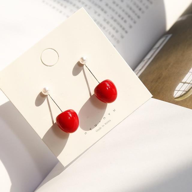 Японские милые градиентные серьги-капли с красными вишнями и фруктами Brincos Oorbellen для женщин и девочек для свадебной вечеринки 2019