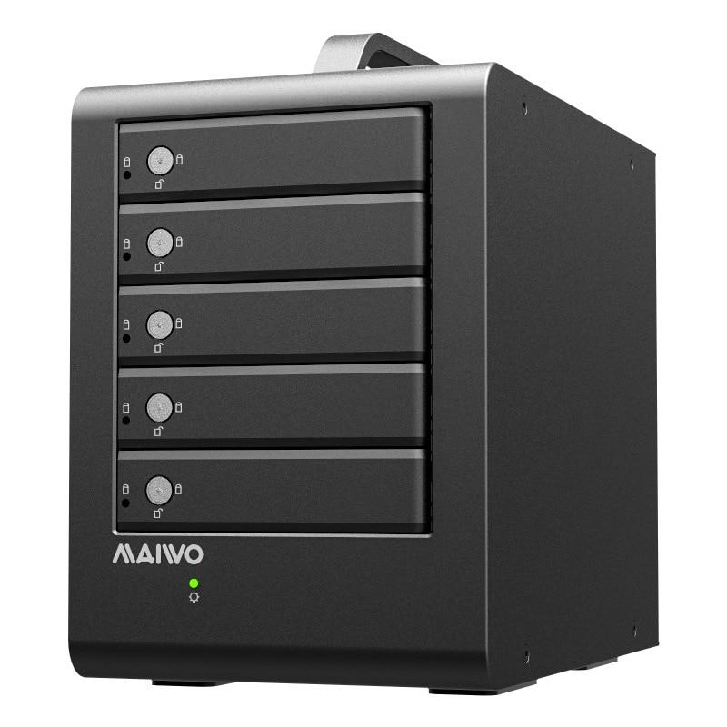 MAIWO 5-bay 2.5 Pouces/3.5 Pouces USB 3.0 L'USAP 5 Gbps Avec Fonction RAID HDD Aluminium 5 jour HDD Cas Jusqu'à 60 T 5-bay Boîtier HDD
