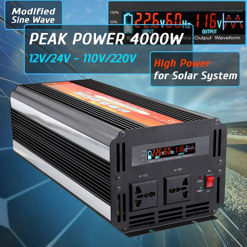 Smuxi 6000W  LCD Solar Power Inverter DC 12V/24V to AC 110V/220V Modified Sine Wave Aluminum Alloy BlackSmuxi 6000W  LCD Solar Power Inverter DC 12V/24V to AC 110V/220V Modified Sine Wave Aluminum Alloy Black