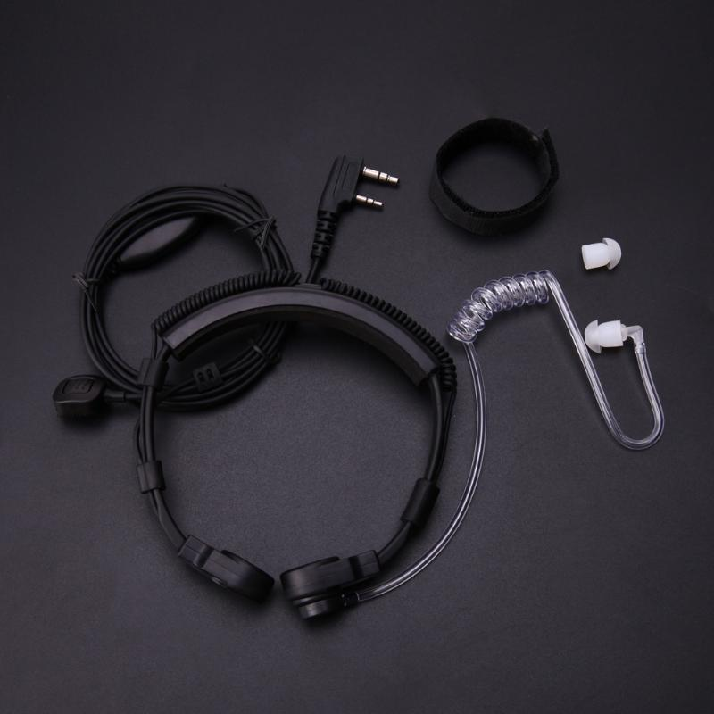 2019 New 2 Pin Covert Acoustic Tube Earpiece Headset PTT Throat MIC Microphone Earphone for Baofeng UV5R for Kenwood KPG