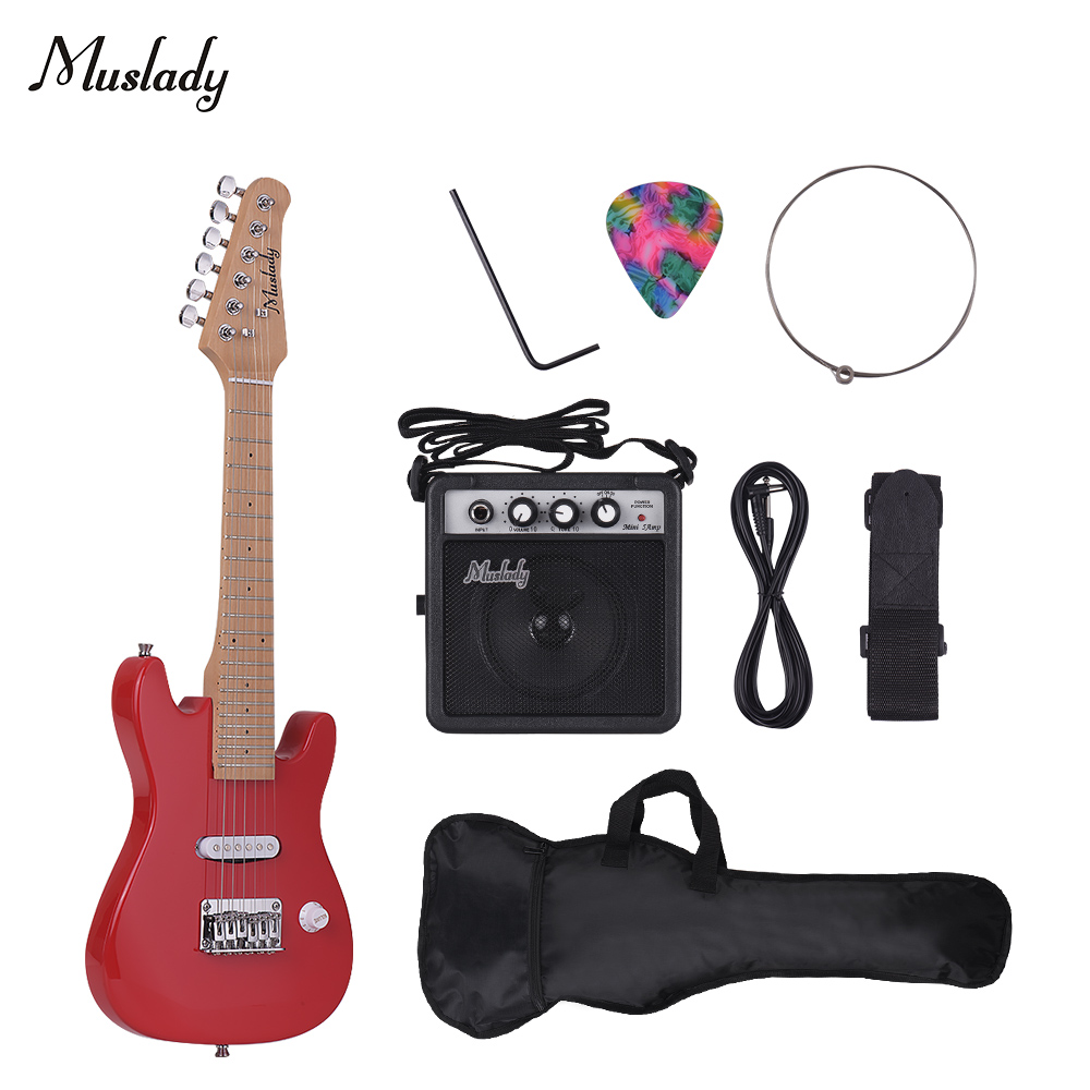 Muslady 28Inch Children ST Electric Guitar Kit with Mini Amplifier Guitar Bag Strap Pick String Audio Cable Right-Handed Style