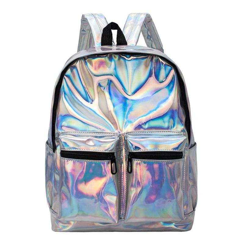 Women Men Storage Backpack Large Capacity Patent Leather Female Laser Shoulder Travel School Backpack