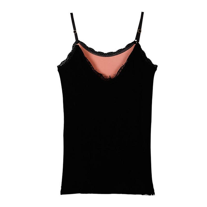 Ladies V-Neck Lace Camisole Vest Girl Fleece Lined Thickening High-Elastic Slim Thread Solid Color Simple Soft Sweet Warm Vest