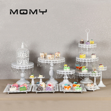 цена на White Cough Stands Wedding Cupcake Stands Set Glass Dome Crystal Candy Bar Decoration Cough Tools Baking Set 4 -18 Pieces