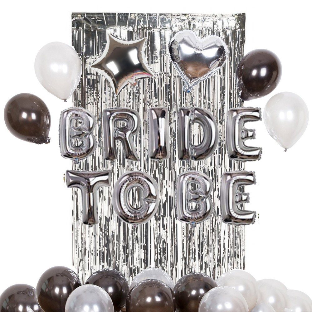 24pcs set Bride To Be Bachelorette Party Hen Party Night Foil Balloons Curtains Bridal Shower Party Favors Decoration Supplies in Party DIY Decorations from Home Garden