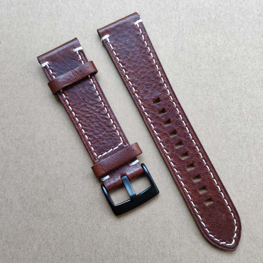 New Genuine Leather Watch Band Strap 18mm 19mm 20mm 21mm 22mm 24mm Black Dark Brown Vintage Watchbands Belt Silver Black Buckle