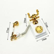 1:12 Miniature Phone Model Alloy Vintage Retro Rotary Telephone Dollhouse Decoration Accessories YJS Dropship цена в Москве и Питере