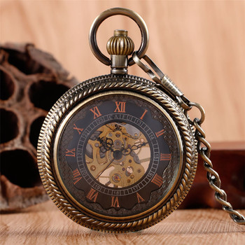 цена Transparent Mechanical Pocket Watch Retro Watch Men Women Hand Winding Roman Numerals Skeleton Clock with Steampunk Chain reloj онлайн в 2017 году