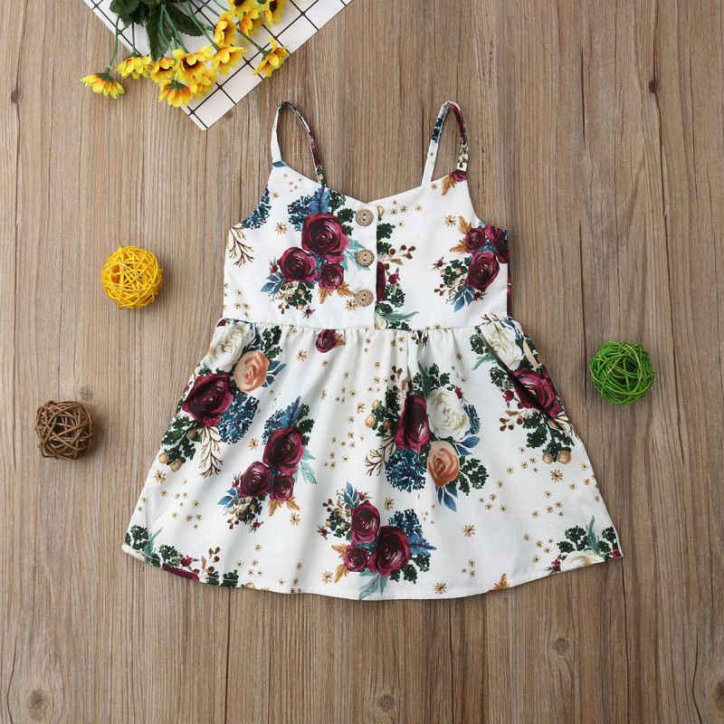 פעוט תינוק בנות פרח רצועת שמלת ילדה קטנה נסיכת שרוולים ללא משענת שמלות קיצי קיץ בגדי 1-3 T