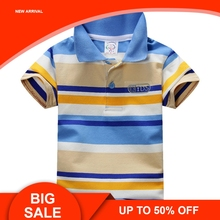 Boys Shirts Color Stripes Short Sleeve Summer Top Polo Shirt 2T-7T Kids Clothes Cotton Camiseta Toddler Boy Tees стоимость