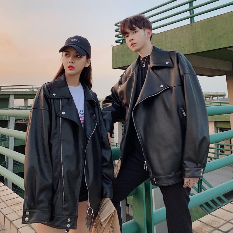 2019 frühling Trend Koreanische Version Der Campus Lange ärmeln Männer Lose Feste Farbe Kleine Frische Leder Zipper casual Jacke-in Kunstpelzmäntel aus Herrenbekleidung bei  Gruppe 3