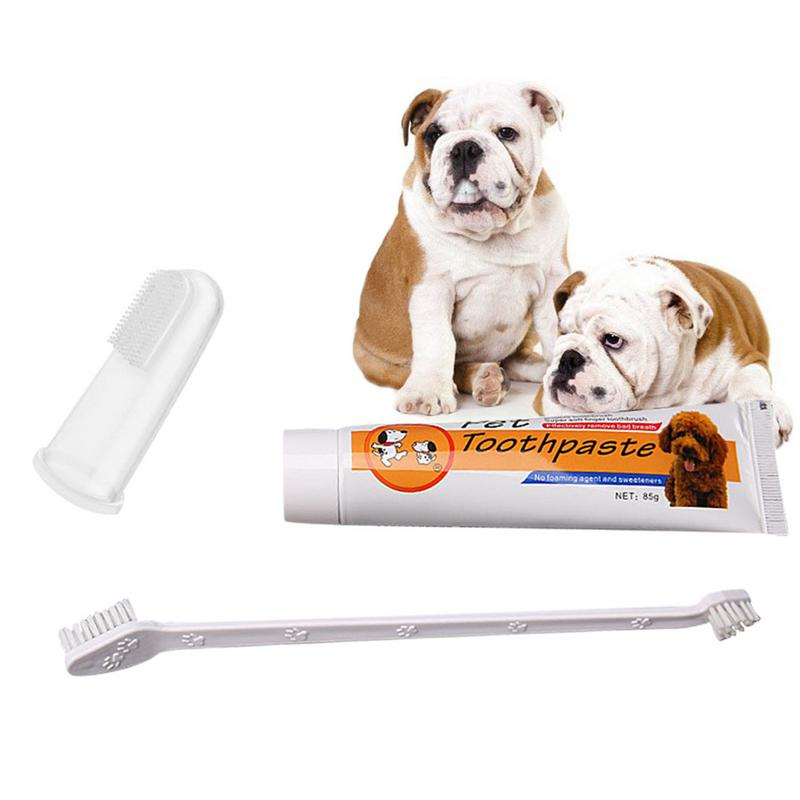 Pet Oral Care Kit Dog Cat Toothbrush Toothpaste Set Improve Pet Oral Hygiene Mouth Cleaning Reduce Dental Plaque image
