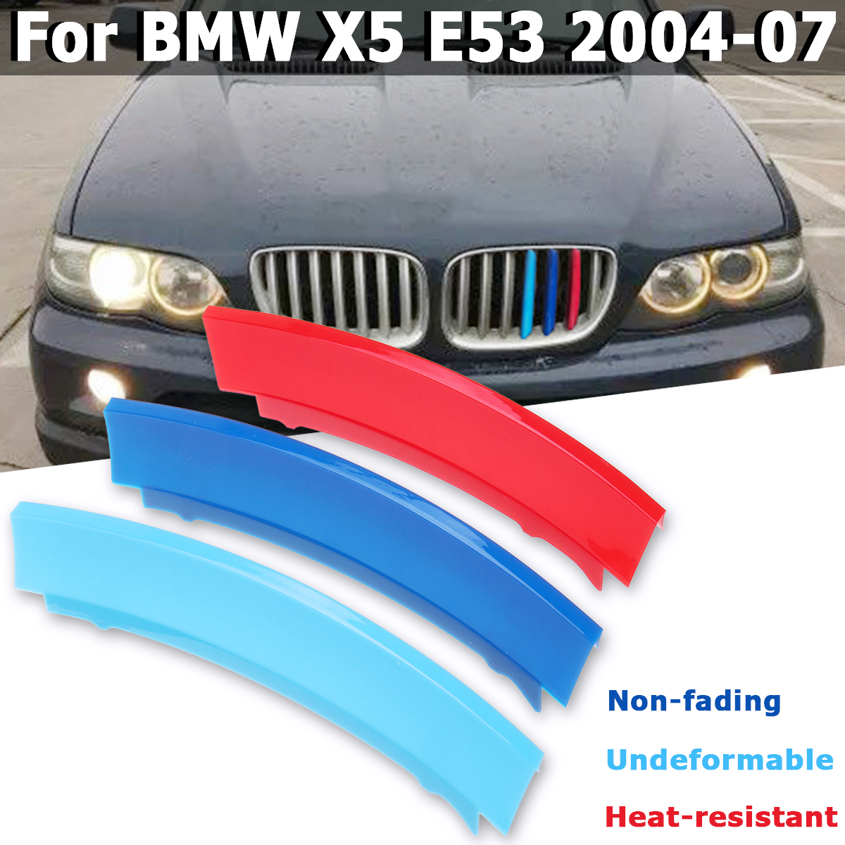 Car Styling For BMW X5 E53 2004-2007 Accessories 7Bar 3D Sticker Car Front Kidney Grill Grille Trim Sport Strips Clip Cover
