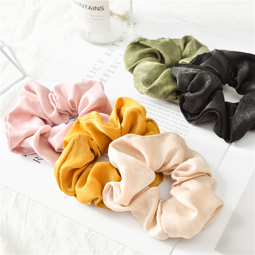 1PC Fashion Solid Color Satin Hair Rope Ties For Girls Women Elastic Hair Bands Scrunchie Sweet Hair Accessories Ponytail Holder