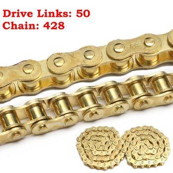 Cadena de transmisión dorada de 50 eslabones 428 para PIT Dirt Bike, para 50cc, 110cc, 125cc, 140cc