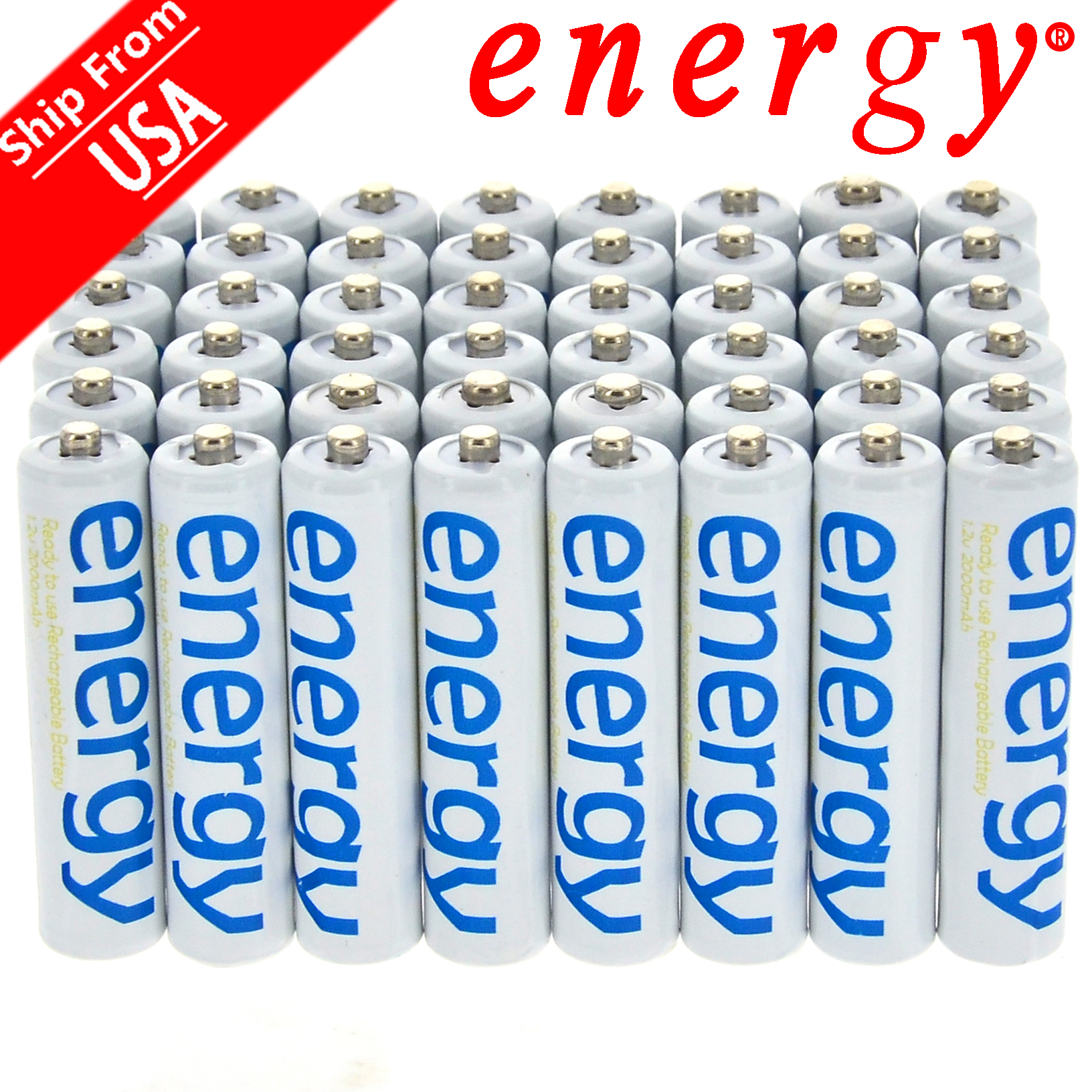 New Brand AA 3300mAh AAA 2000mAh 1.2V Ni-Mh Energy Rechargeable Battery White Cell For RC MP3 Free Shipping