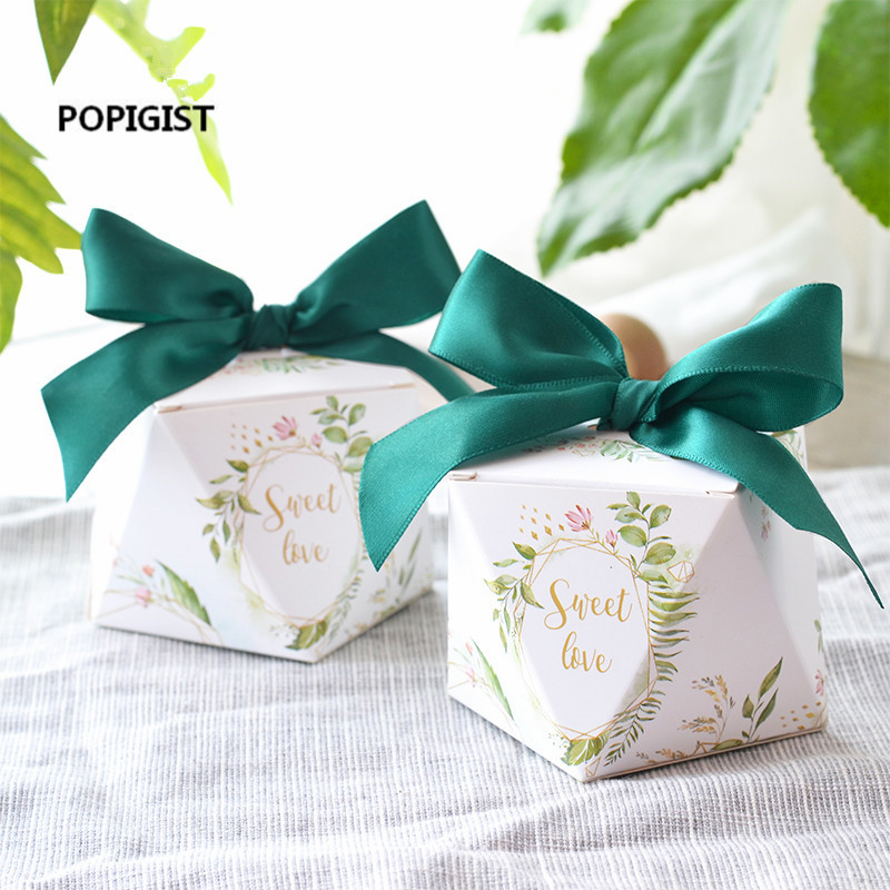 100pcs European Diamond Shape Green Forest Style Candy Boxes Wedding Favors Bomboniere Paper Thanks Gift Box Party Chocolate Box