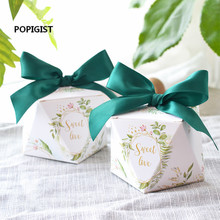 100pcs European diamond shape Green forest style Candy Boxes Wedding Favors Bomboniere paper thanks Gift Box Party Chocolate box 100pcs 2017 five star european style hollow wedding candy box gift paper boxes chocolate carton wedding supplies