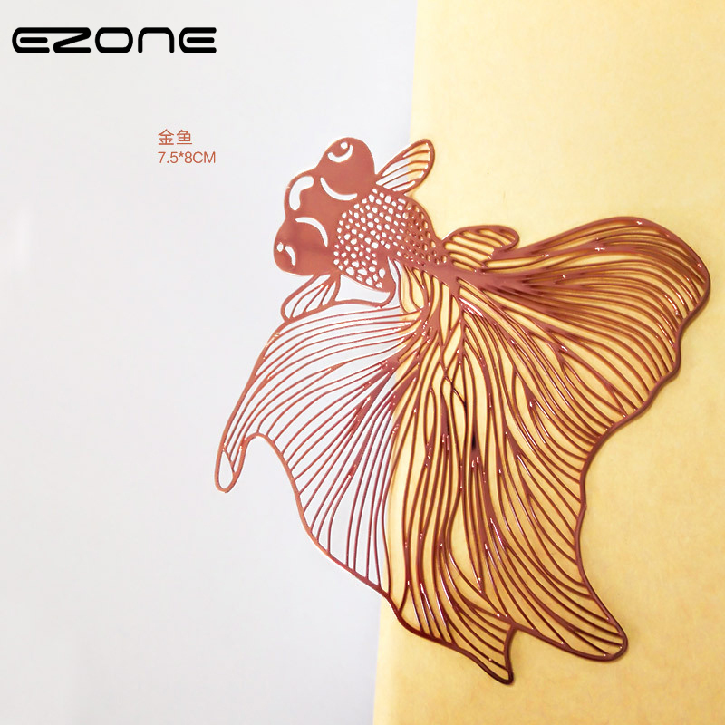 EZONE 1PC Metal Goldfish Bookmark Brass Goldfish Lively Bookmark Chinoiserie Custom Style School Office Creative Stationery