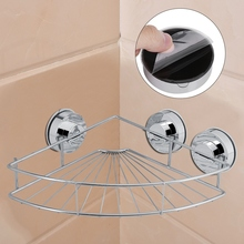 купить Stainless Steel Corner Shower Shelf w/ Suction Cup Bathroom Shampoo Holder Soap Cosmetic Shelves Kitchen Storage Rack Organizer дешево