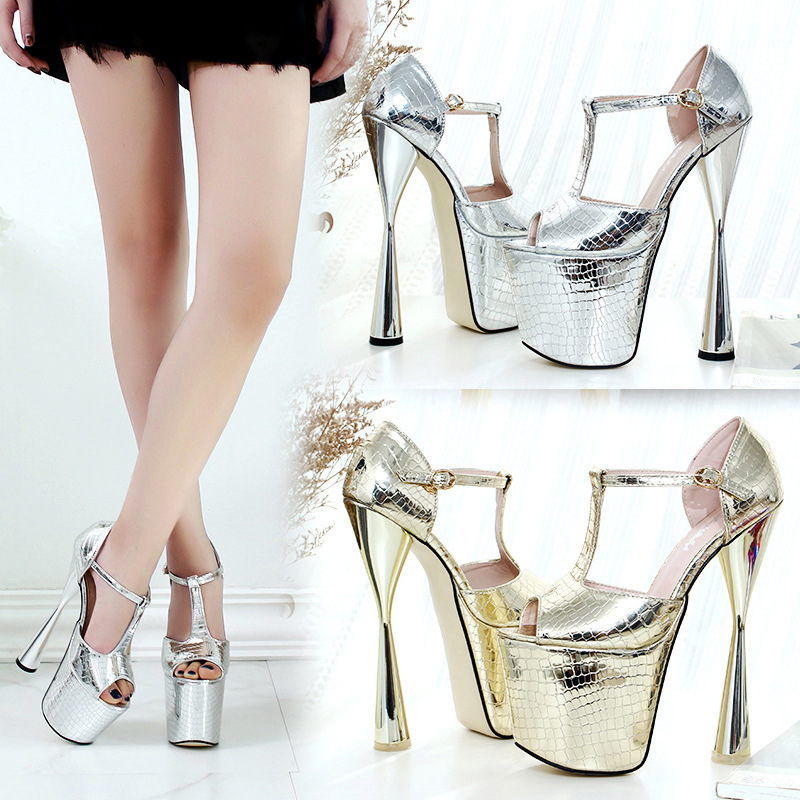 Super High Coarse 20cm High Nightclub Woman Sandals Silver Color Type 43 ShoesSuper High Coarse 20cm High Nightclub Woman Sandals Silver Color Type 43 Shoes