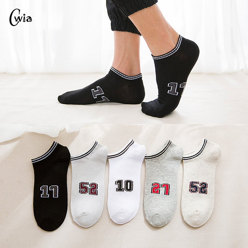 Spring Summer Men Cotton Man  Socks Digital Motion Letter Male Low Cut Ankle Socks Casual Slippers 1pair=2pcs WS111