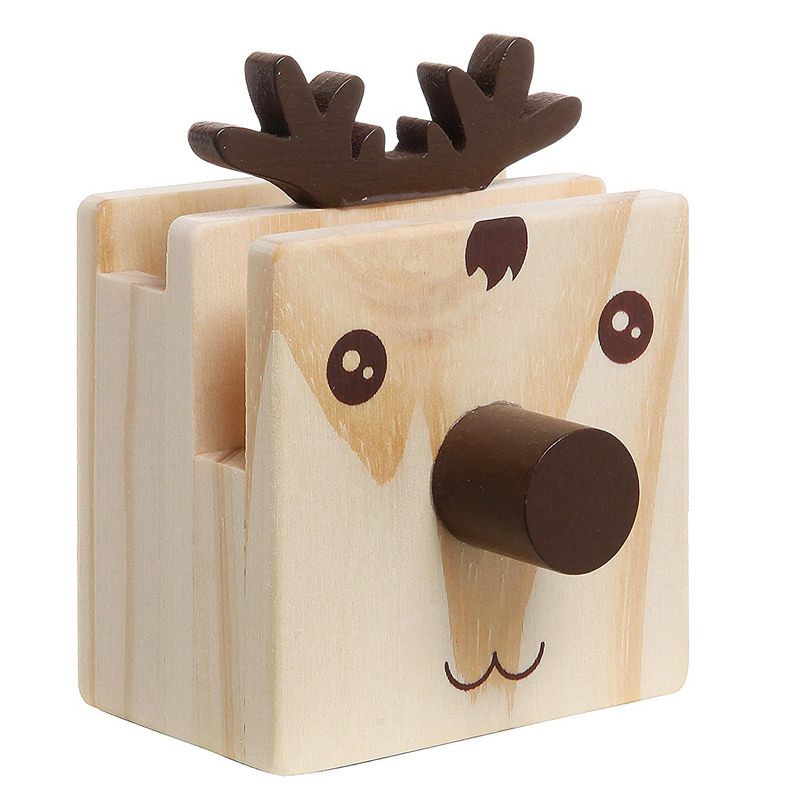 Humorous Reindeer Design Wood Desktop Pencil Cup Organizer / Novelty Eyeglass Holder / Cell Phone Stand