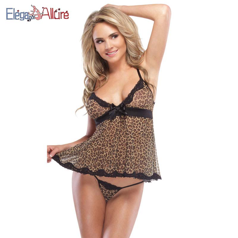 E A Sexy Underwear Women Lingerie Erotic Babydoll Leopard Print Dress Female Porno Nightwear Sexy Costumes For Lady Sleepwear in Babydolls Chemises from Novelty Special Use