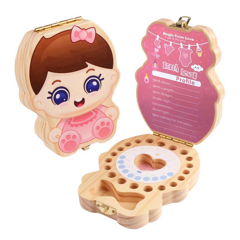Wooden Baby Tooth Box Boy Girl Teeth Memorial Box Wooden Organizer Collection Children Growing Souvenir