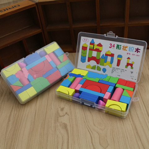 34 pecas de madeira castelo arquitetura criancas educacao precoce brinquedos iluminacao formas combinacao e
