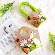 Women Lady Easter Egg Floral Bunny Shoulder Print Tote Cloth Bag Satchel Handbag Shopping Bags sweet lemon print and cloth design tote bag for women