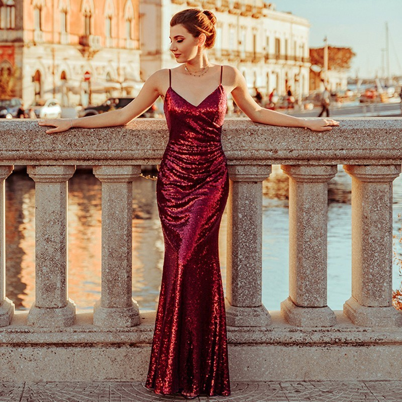 Ever Pretty Robe De Soiree New Burgundy Sexy V Neck Spaghetti Straps Sequins Evening Dresses Long