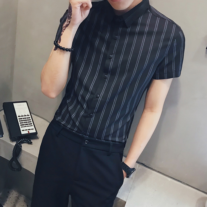Men's Shirts Spring 2019 New Social Guy Style Stripe Print Shirt Short Sleeve Shirt Slim Loose Casual Youth Men's Wear